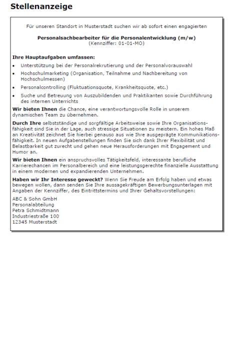 Bewerbung - Personalsachbearbeiter, ungekündigt (Berufserfahrung)