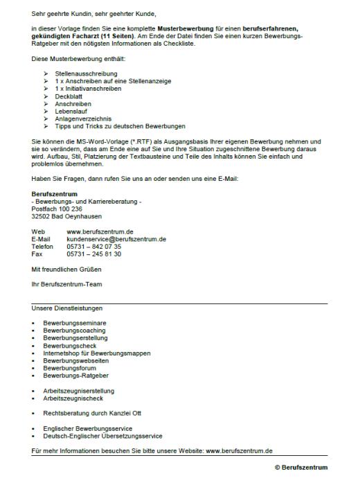 Bewerbung - Facharzt, gekündigt (Berufserfahrung)