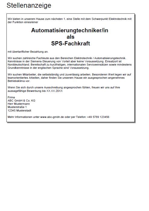 Bewerbung - SPS-Fachkraft (Berufseinsteiger)