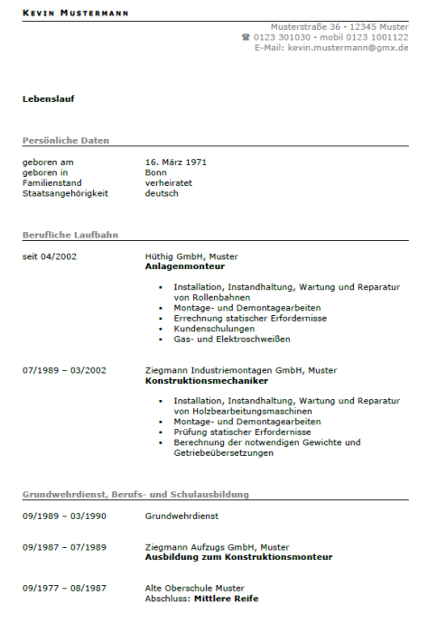 Bewerbung - Anlagenmonteur, ungekündigt (Berufserfahrung)