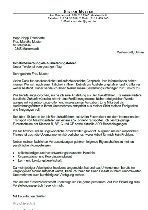 Bewerbung - Auslieferungsfahrer - gekündigt (Berufserfahrung)