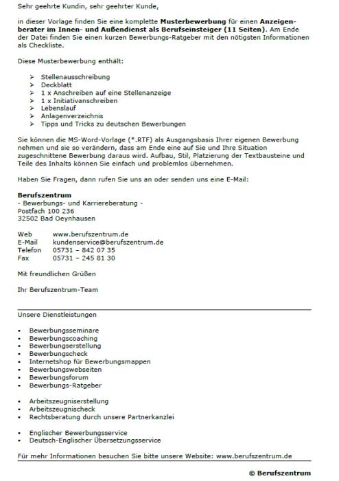 Bewerbung - Anzeigenberater - Innen - und Außendienst (Berufseinsteiger)