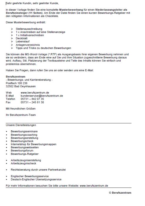 Bewerbung - Niederlassungsleiter (Berufseinsteiger)