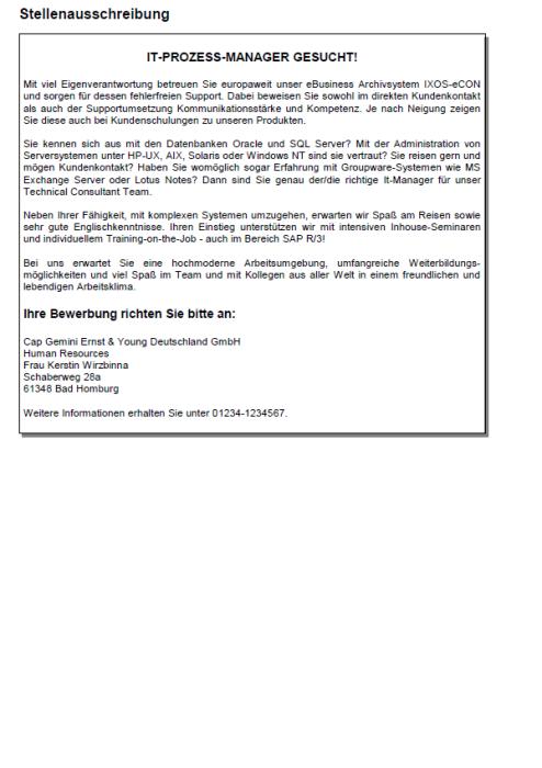 Bewerbung - IT-Prozess-Manager/-Managerin, gekündigt (Berufserfahrung)