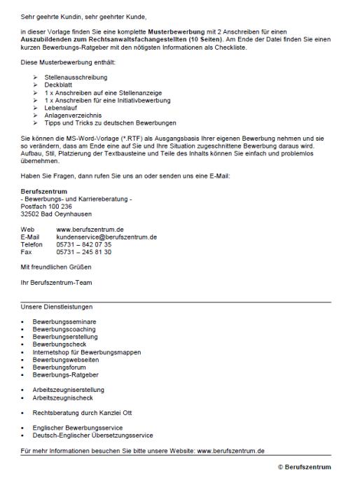Bewerbung - Rechtsanwaltsfachangestellter (Ausbildung)