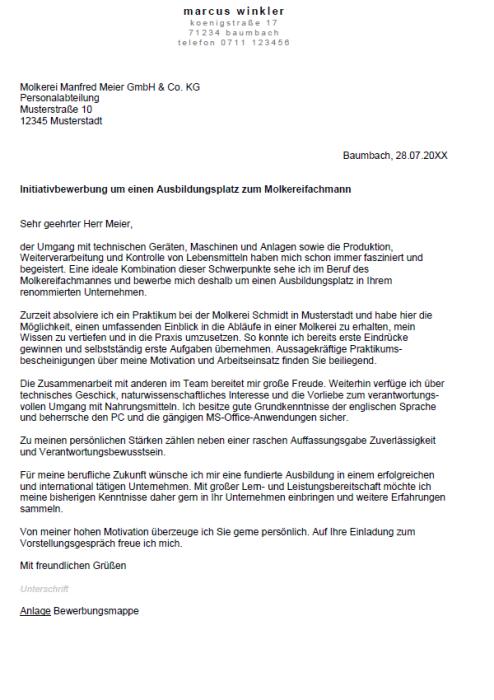 Bewerbung - Molkereifachmann/ -frau (Ausbildung)