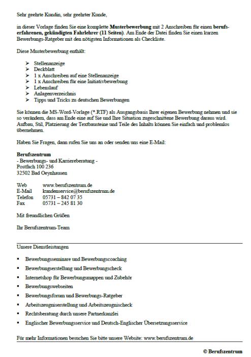 Bewerbung - Fahrlehrer, gekündigt (Berufserfahrung)