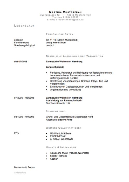 Bewerbung - Zahntechniker (Berufseinsteiger)