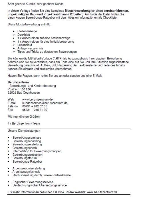 Bewerbung - Bau - und Projektkaufmann - ungekündigt (Berufserfahrung)