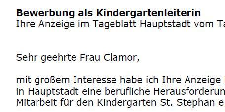 Bewerbung - Kindergartenleiter/in (gekündigt)