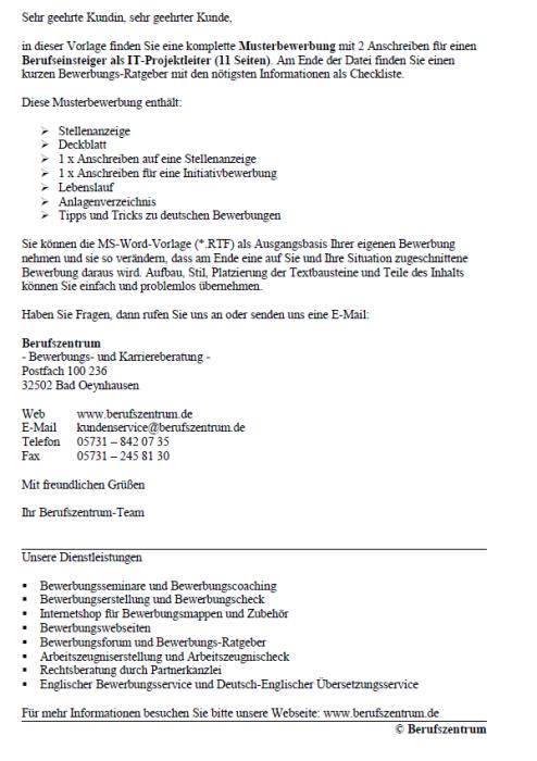 Bewerbung - IT-Projektleiter (Berufseinsteiger)