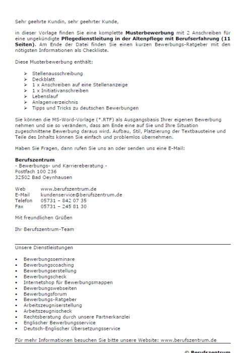 Bewerbung - Pflegedienstleiterin, ungekündigt (Berufserfahrung)