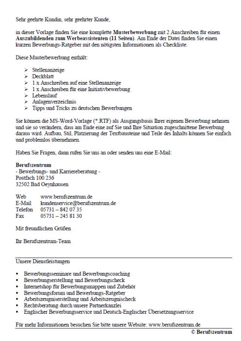 Bewerbung - Werbeassistent/in (Ausbildung)