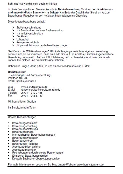 Bewerbung - Bauhelfer - ungekündigt (Berufserfahrung)