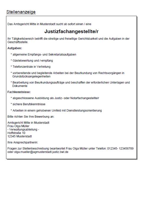 Bewerbung - Justizfachangestellte, ungekündigt (Berufserfahrung)