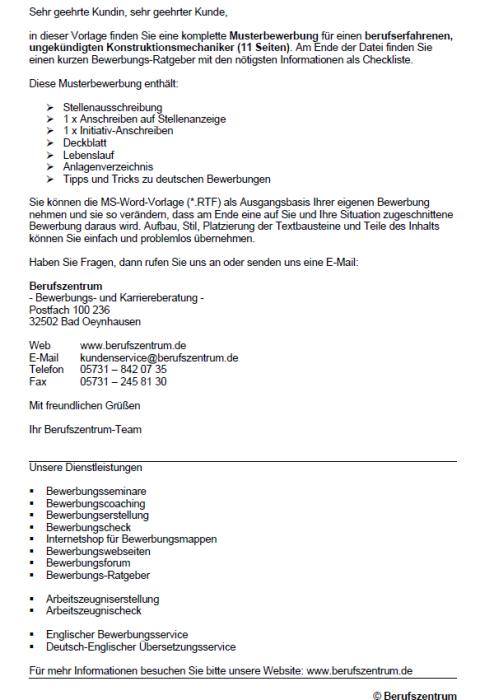 Bewerbung - Konstruktionsmechaniker/in, ungekündigt (Berufserfahrung)