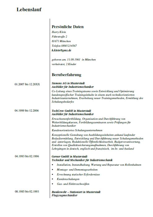 Bewerbung - Ausbilder für Industriemechaniker - gekündigt (Berufserfahrung)