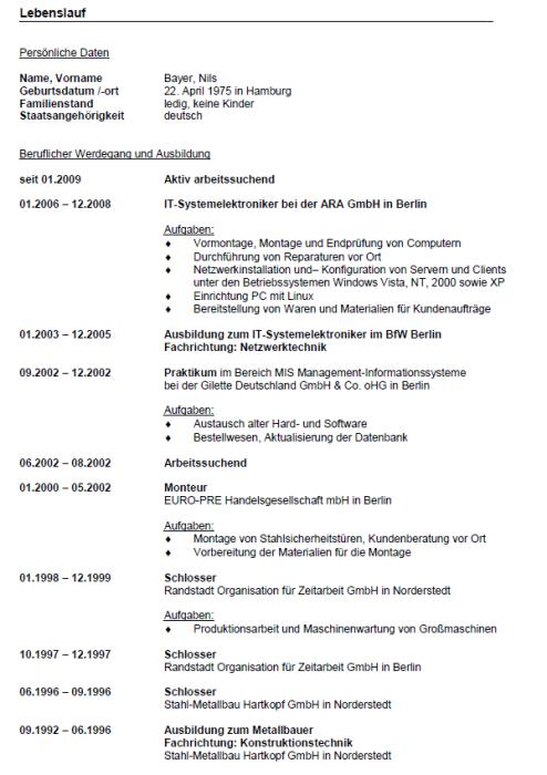 Bewerbung - IT-System-Elektroniker/in, gekündigt (Berufserfahrung)