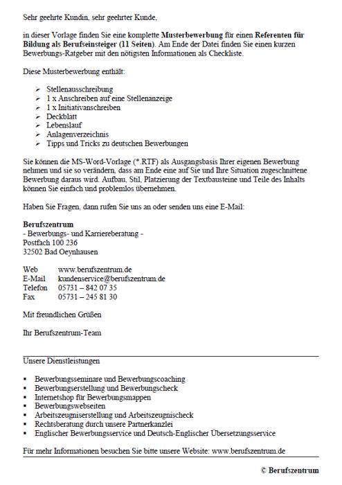 Bewerbung - Referent für Bildung (Berufseinsteiger)
