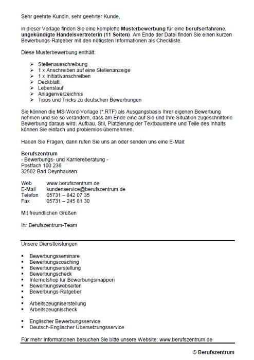 Bewerbung - Handelsvertreter/in, gekündigt (Berufserfahrung)