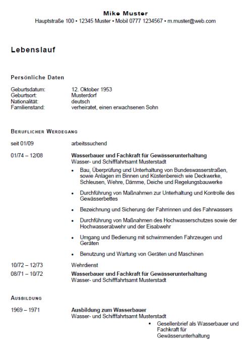 Bewerbung - Wasserbauer/in, gekündigt (Berufserfahrung)