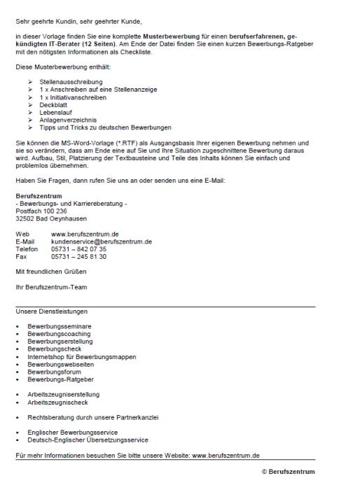 Bewerbung - IT-Berater, gekündigt (Berufserfahrung)