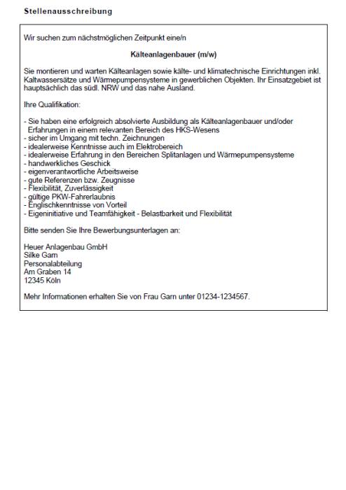 Bewerbung - Kälteanlagenbauer (Berufseinsteiger)