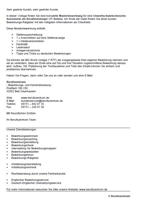 Bewerbung - Umweltschutztechnische/r Assistent/in (Berufseinsteiger)