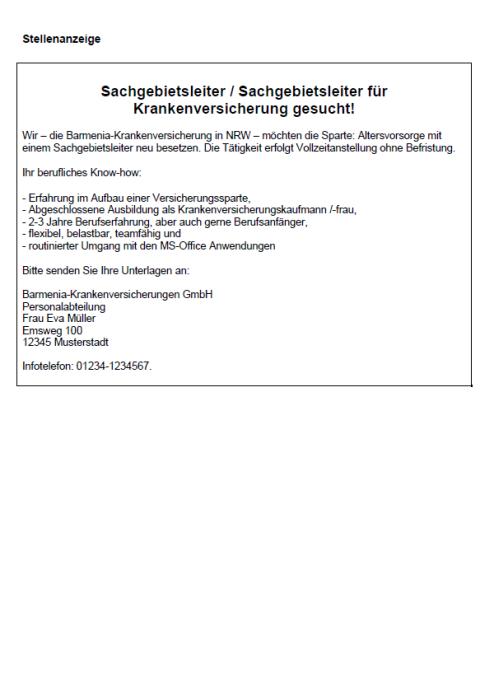 Bewerbung - Sachgebietsleiter/in (Berufserfahrung, gekündigt)