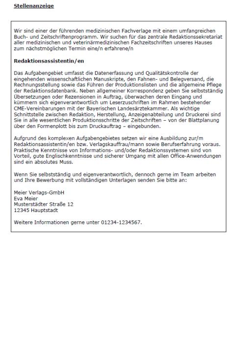 Bewerbung - Redaktionsassistent/in (Berufserfahrung, ungekündigt)