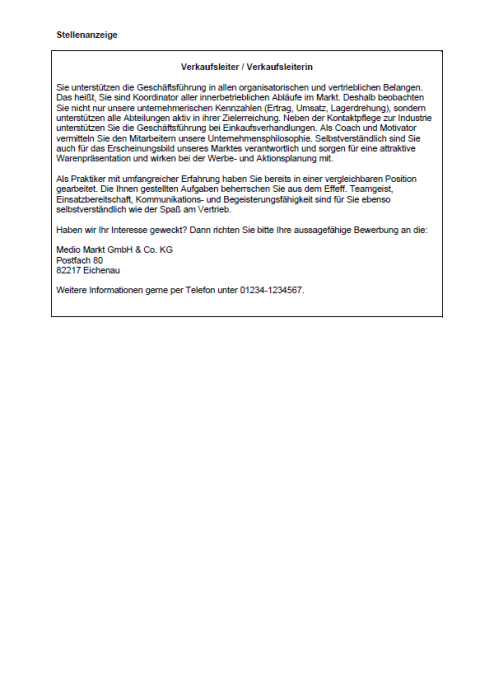 Bewerbung - Verkaufsleiter/Verkaufsleiterin (ungekündigt)