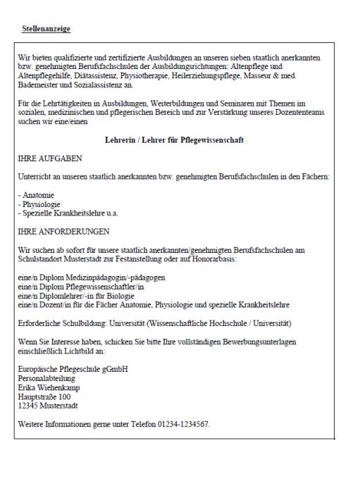 Bewerbung - Lehrer/in-Pflegewissenschaft (Berufserfahrung, ungekündigt)