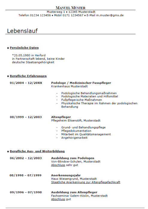 Bewerbung - Medizinische(r) Fußpflegerin/pfleger (Berufserfahrung, gekündigt)