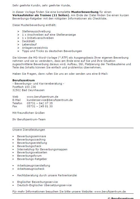 Bewerbung - Verkaufsleiter/in (Trainee)