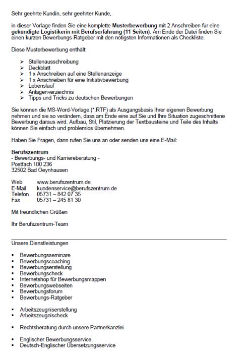 Bewerbung - Logistiker/in, gekündigt (Berufserfahrung)
