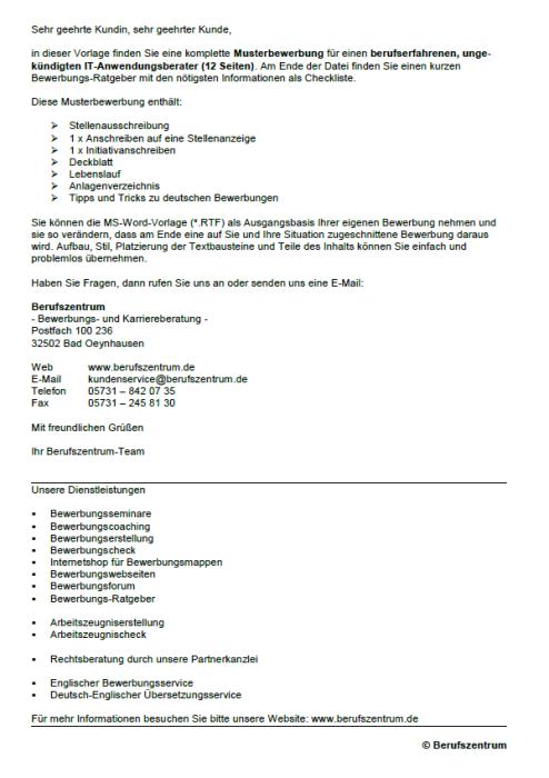 Bewerbung - IT-Anwendungsberater, ungekündigt (Berufserfahrung)