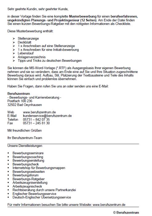 Bewerbung - Planungs- und Projektingenieur, ungekündigt (Berufserfahrung)