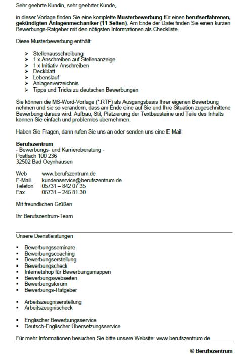 Bewerbung - Anlagenmechaniker/in, gekündigt (Berufserfahrung)