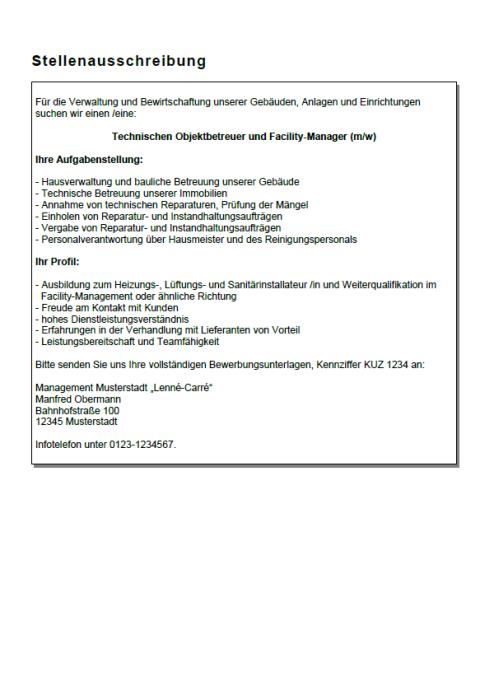 Bewerbung - Facility-Manager (Berufseinsteiger)
