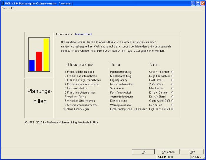 Businessplan Software - UGS Sim Gründerversion