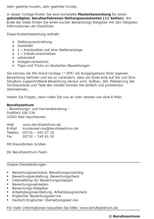 Bewerbung - Rettungsassistent, gekündigt (Berufserfahrung)