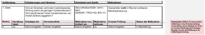 Gefährdungsbeurteilung - Arbeiten an Fahrzeugen mit Erdgas, Tankentleerung