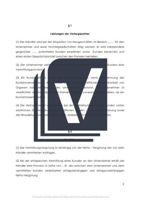 Provisionsvertrag Muster Kunden-Vermittlung