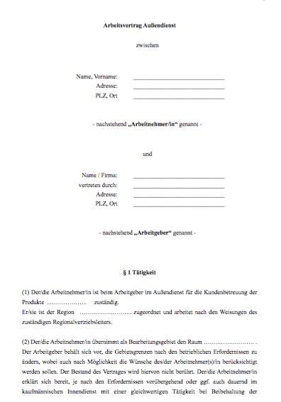 Arbeitsvertrag Außendienstmitarbeiter / in (Provision)