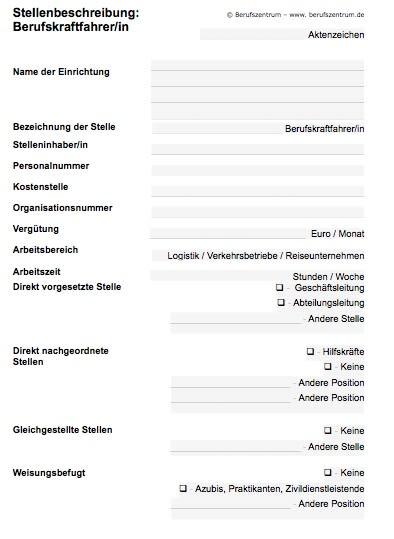 Stellenbeschreibung - Berufskraftfahrer/in