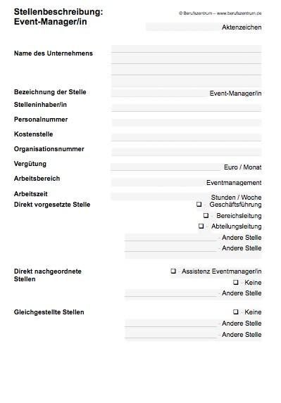Stellenbeschreibung - Eventmanager/in