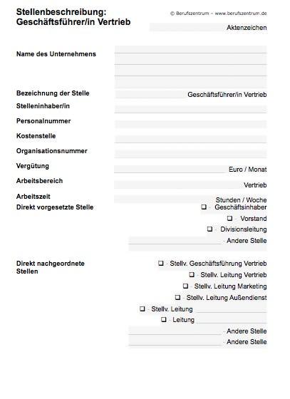 Stellenbeschreibung - Geschäftsführer/in Marketing