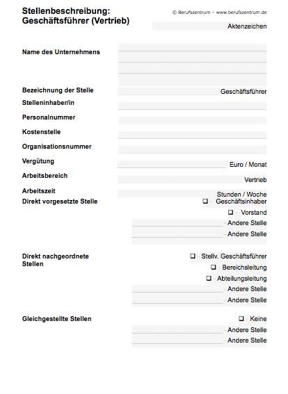 Stellenbeschreibung - Geschäftsführer/in Vertrieb