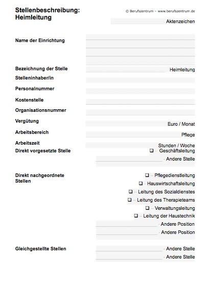 Stellenbeschreibung - Heimleiter/in