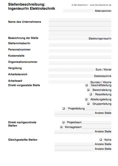 Stellenbeschreibung - Ingenieur/in Elektrotechnik